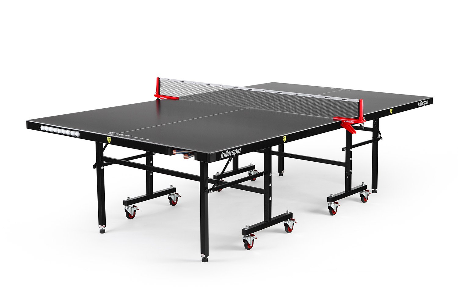 Killerspin MyT7 BlackStorm Table Tennis Table - Black Pocket Outdoor Ping Pong Table with Playback Position and Quick Assembly