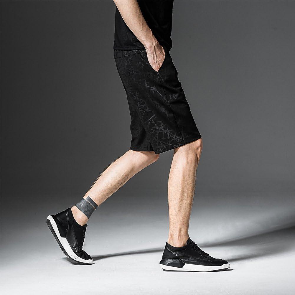 Zhtrade Mens Casual Beach Shorts Classic Fit Drawstring Walk Shorts Quick Dry Print Jogger Shorts with Pockets Black,L