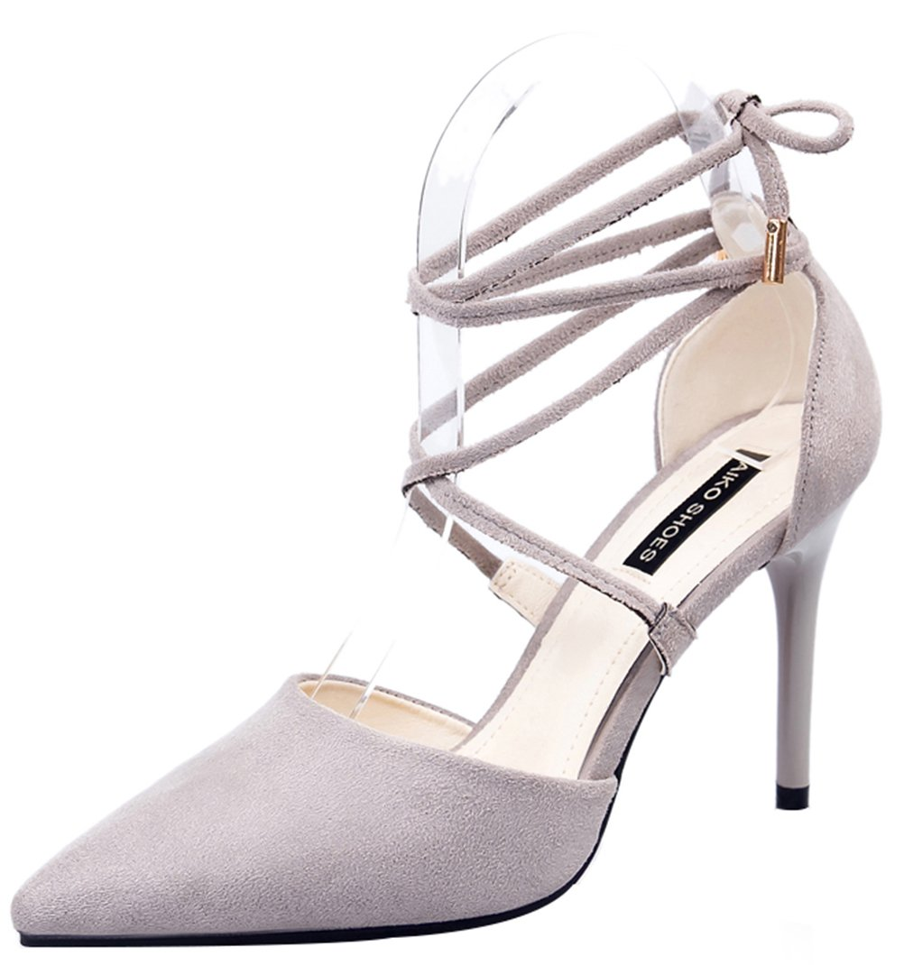 T&Mates Womens Elegant Lace-up Ankle Strap Pointed Toe Stiletto High Heel Suede Dress Party Pumps (6 B(M) US,Gray)
