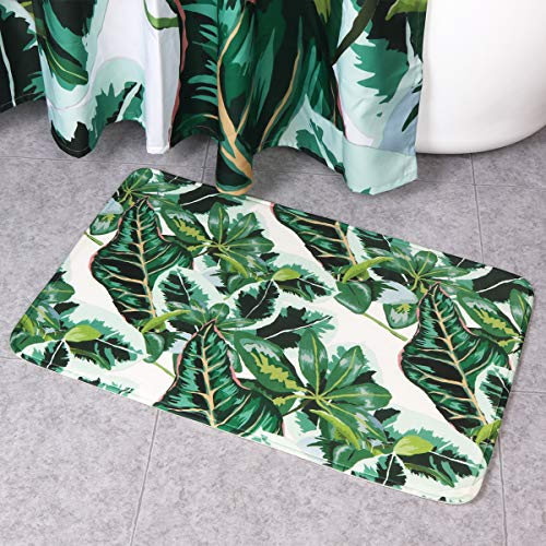 Seavish Bath Mat, Tropical Jungle Banana Leaf Theme Bathroom Rug for Tub Shower, Rubber Non Slip Velvet Memory Foam Bath Rug, Machine Washable,20''W x 32''L (Rug Coral Tropical)
