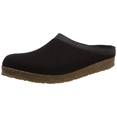 HAFLINGER GZL Leather Trim Grizzly Wool Mule Clog (Black, US Women's 7/US Men's 5) | Mules & Clogs