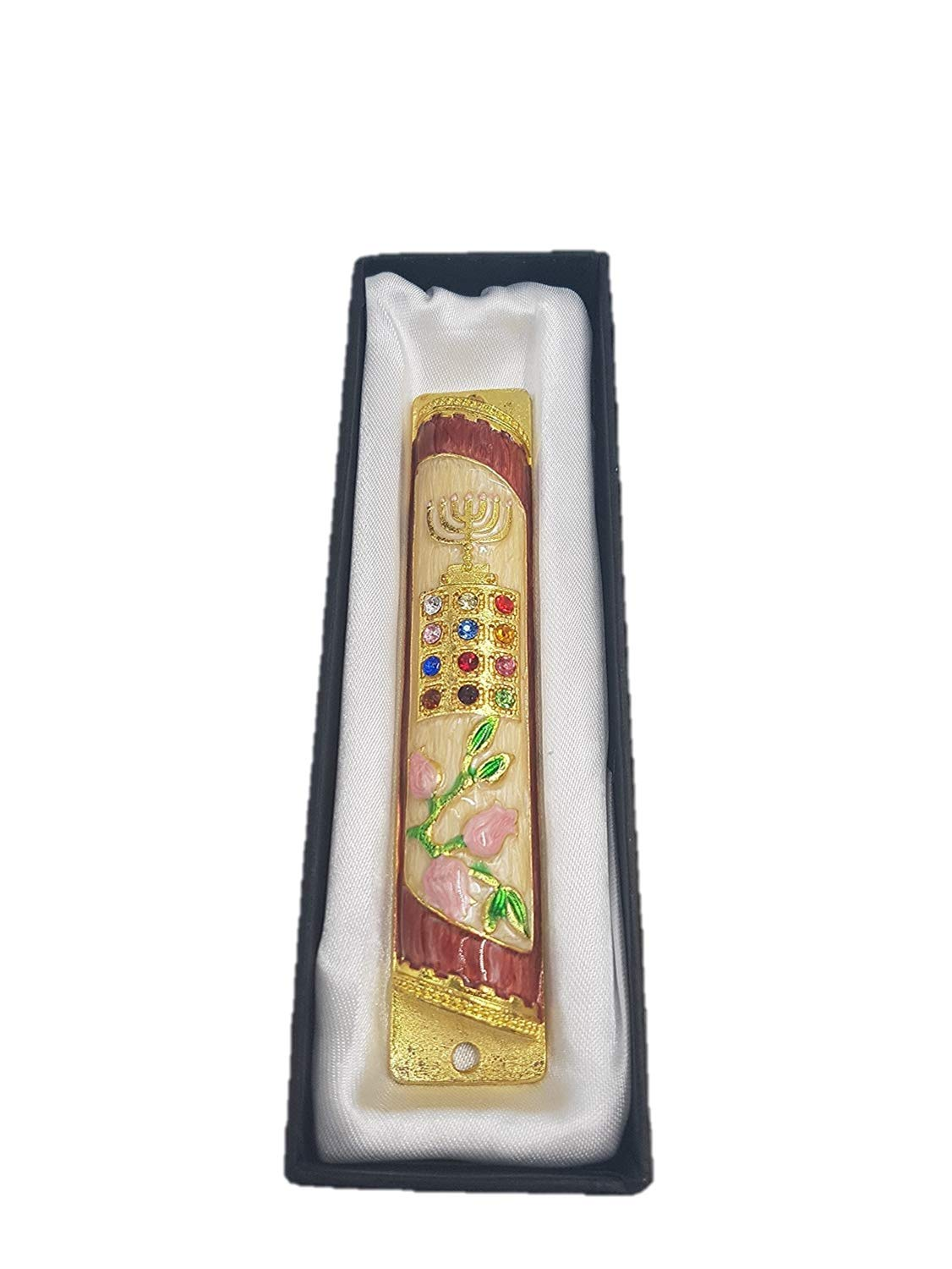 Yaliland Mezuzah case + Kosher 7cm Scroll klaf Parchment Priestly Breastplate Israel Tribes HOSHEN Enamel Door Mezuza 5'' by Yaliland