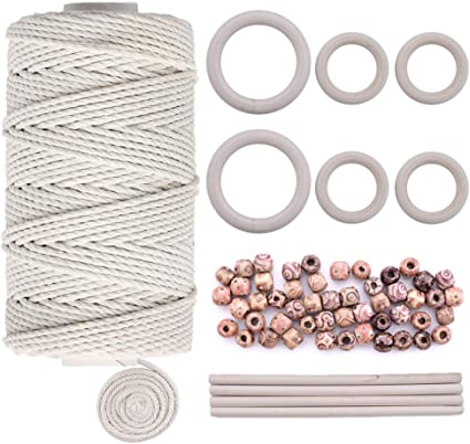 Knitting Quacoww 109 Yards Natural Macrame Cord 3mm with 6pcs Wood Ring and 4pcs Wooden Stick for DIY Plant Hangers Crafts