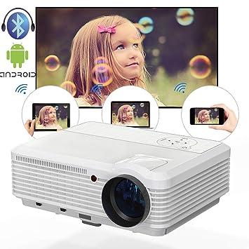 Video inalámbrico WiFi Proyector Bluetooth 3900 lúmenes 1080 P LCD de Cine en casa Proyectores Compatible con Airplay Youtube-TV Aplicaciones KODI Sling TV ...