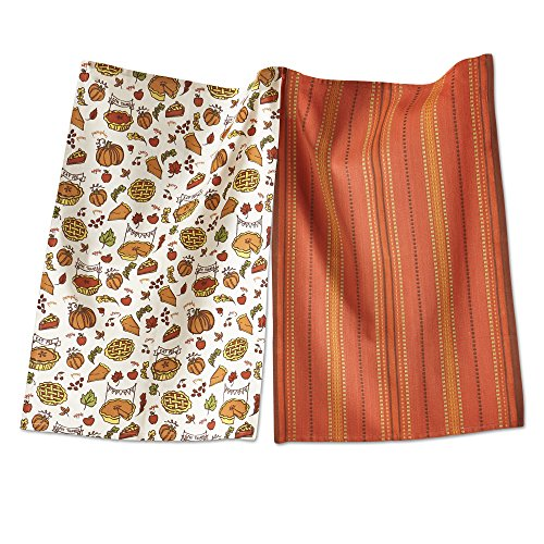 Tag 205217 Pumpkin Pie Dishtowel, Set of 2, Multi Harvest, 26 Inch Long X 18 Inch Wide