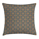 Ambesonne Vintage Throw Pillow Cushion Cover, Little Daffodils Florets Delicate Features Arabian Style Yard Blooms Corsage, Decorative Square Accent Pillow Case, 16 X 16 inches, Dark Blue Orange