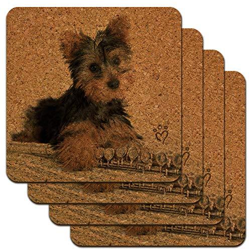 (Yorkie Yorkshire Terrier Puppy Dog Musical Instrument Low Profile Novelty Cork Coaster Set)