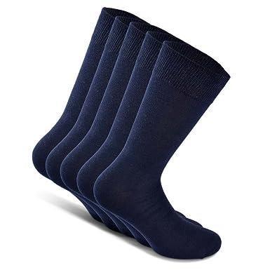 Snocks Calcetines de traje unisex (5 pares) tamaño: 39-50 color: Negro, Azul, Marrón, Gris - algodón
