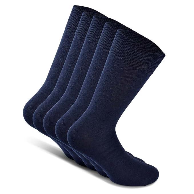 Snocks Calcetines de traje unisex (5 pares) tamaño: 39-50 color: Negro, Azul, Marrón, Gris - algodón: Amazon.es: Ropa y accesorios