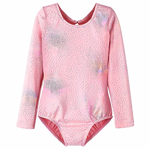 Pink Leotards for Girls Gymnastics Long Sleeve Bodysuit Dancewear Size 4t 5t