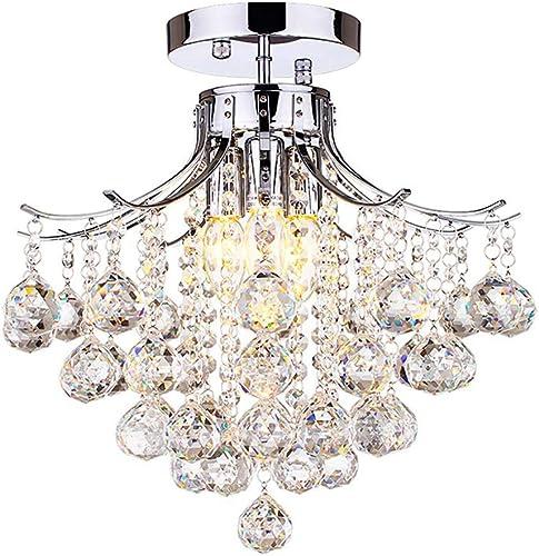 DINGGU Flush Mounted Chrome Finish 3 Lights Modern Crystal Chandelier Light Fixtures