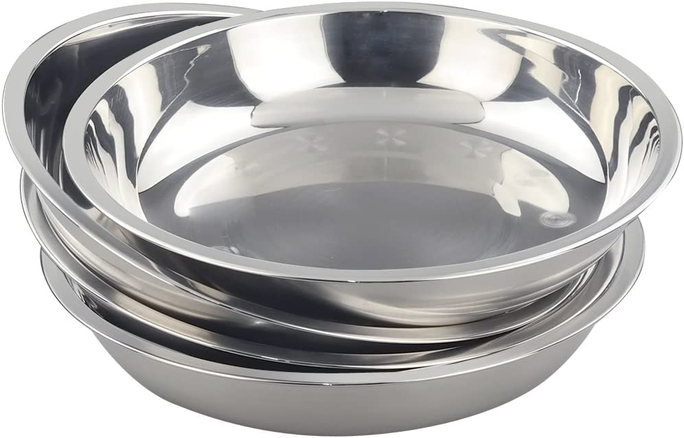 Morcte Stainless Steel Round Plates Dish Set for Dinner Plate, Outdoor Camping, BBQ, Set of 4