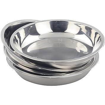 morcte platos redondos de acero inoxidable Vajilla Plato, para al aire libre, camping,