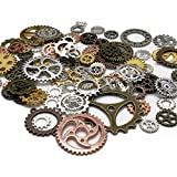 100 Gram (Approx 80pcs) DIY Assorted Color Antique Metal Steampunk Gears Charms Pendant Clock Watch Wheel Gear for Crafting, Cosplay Halloween Decoration,Jewelry Making Accessory