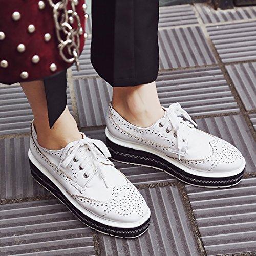 Moyen Journee Compensees avec Confortable Chaussures Laniere Blanc pour Talon Lacet a Cheville UH Femmes de de ng1I6Yqw