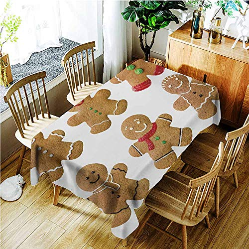 Washable Tablecloth,Gingerbread Man Vivid Homemade Biscuits Sugary Xmas Treats Sweet Tasty Pastry,Dinner Picnic Table Cloth Home Decoration,W60X90L,Pale Brown Red Green]()