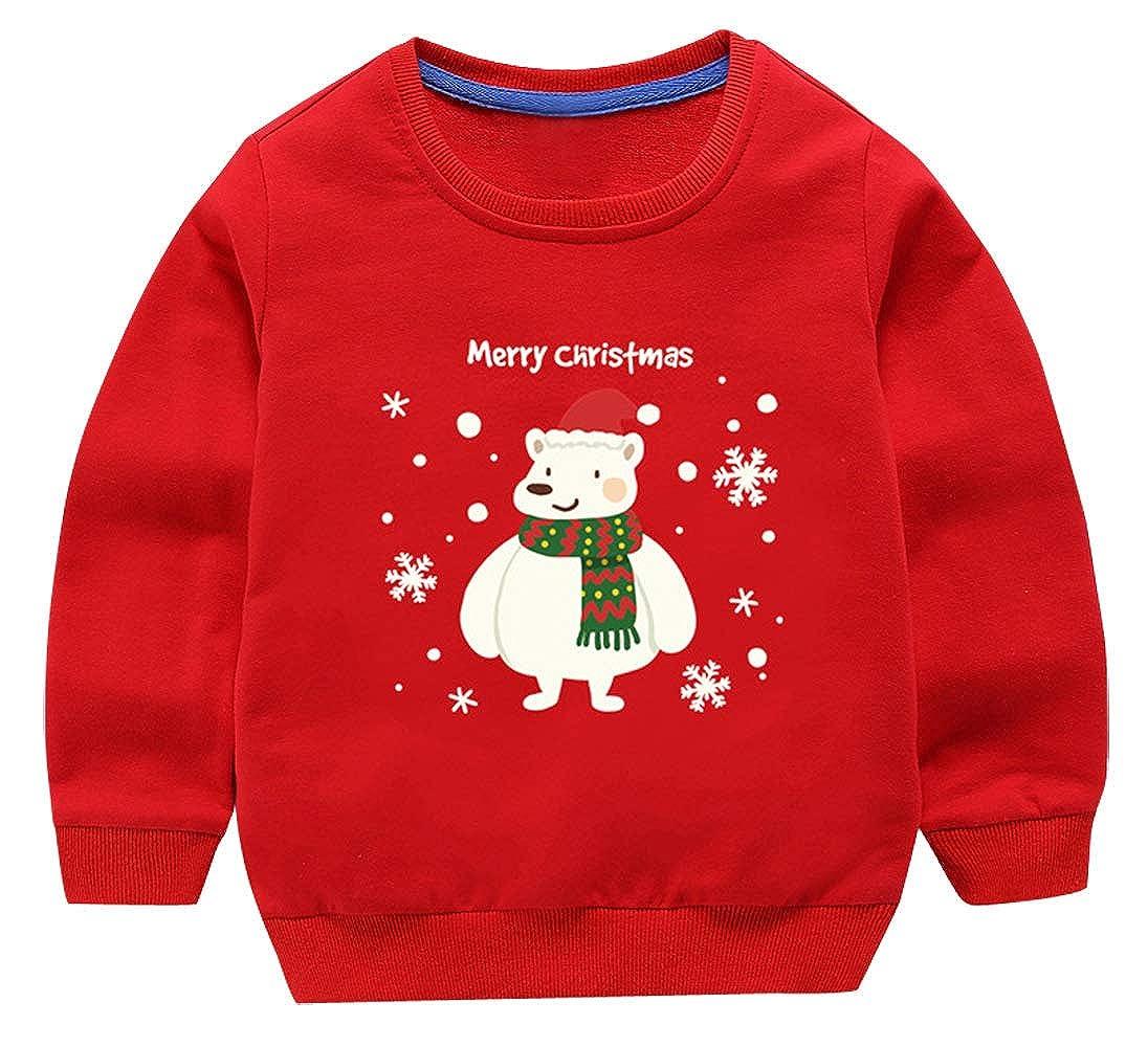 FEOYA Girls Cotton Pullover Christmas Sweatshirts Crewneck Long Sleeve Sweater 2-6T