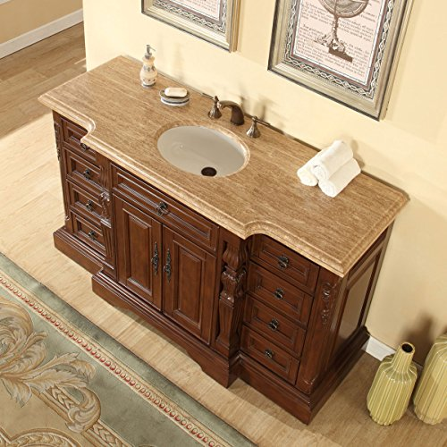 Silkroad Exclusive Bathroom Vanity Travertine Top Single Sink Cabinet, 60'
