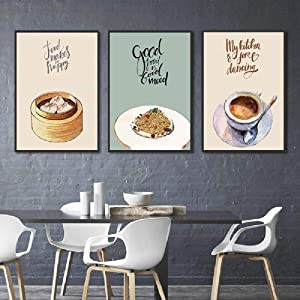 AdoDecor Abstract Home Decoration Posters Chinese Restaurant Dumplings Foods Hd Print Canvas Painting Wall Art Picture for Kitchen Room 40x60cmx3 Unframed