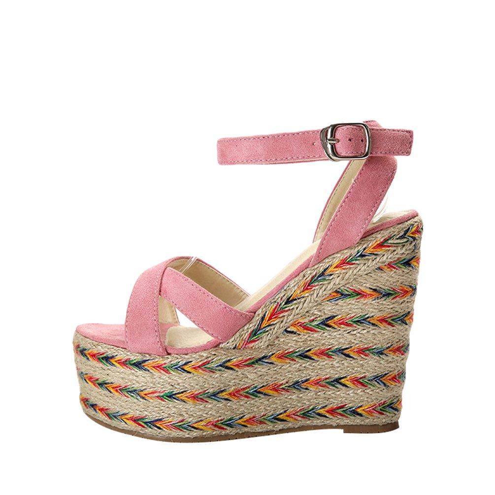 Lvguang Eleganti Sandali Donna con Zeppa Sandali Tacco Basso Infradito Sandali Colori Misti Sandali Infradito Scarpe Pink#2 (Tacchi 9cm) 6263ff