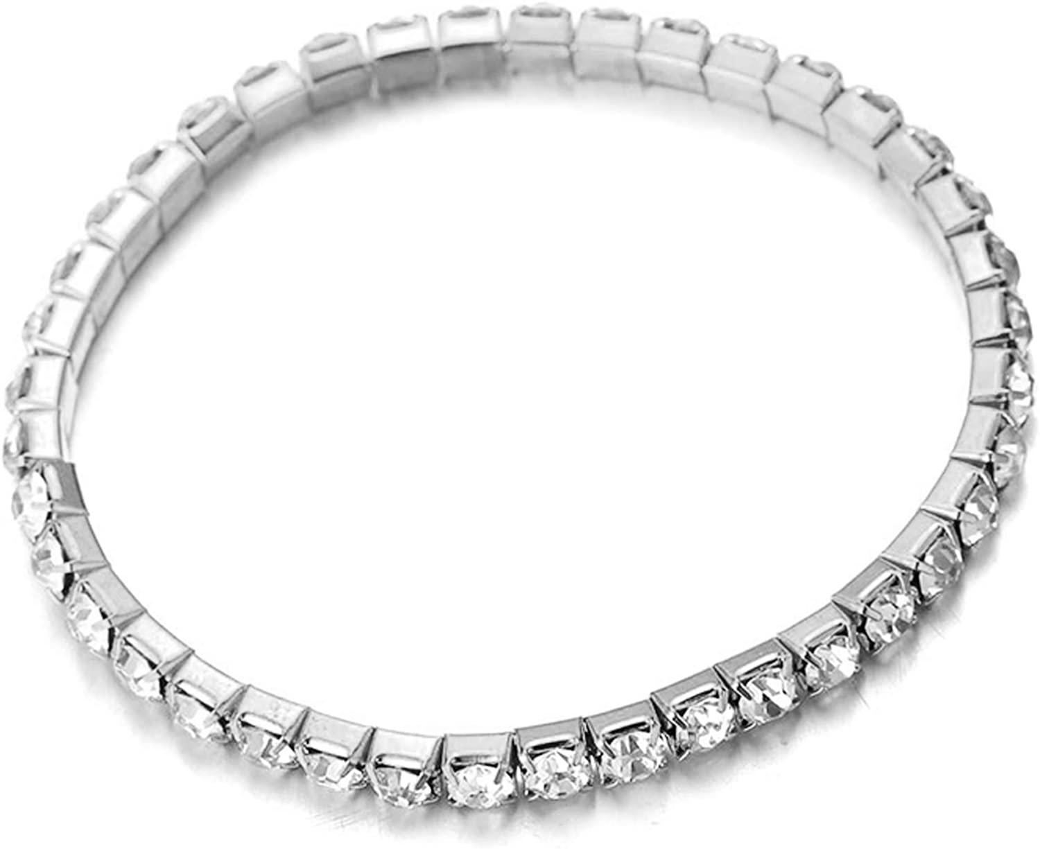 Halukakah ● Super Bling ● Womens 18k Real Gold//Platinum Plated Tennis Anklet Bracelet Elastic Dense Clear//Multicolor Crystal Diamond Set 1-5 Row Luxury Wedding Party with Free Giftbox