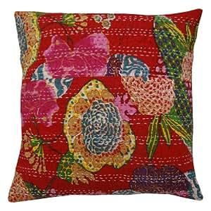 "Decorativo Pure Cotton Caso Cojín Rojo Diseño floral Kantha Stitch almohada cubierta India 16 pulgadas """