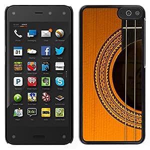 LECELL--Funda protectora / Cubierta / Piel For Amazon Fire Phone -- guitarra instrumento música marrón dorado --