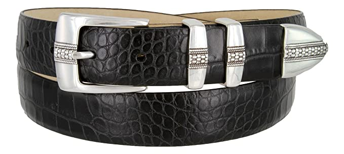 9ef50dad080c97 Brandon Italian Calfskin Leather Designer Dress Golf Belt for Men (32,  Alligator Black)