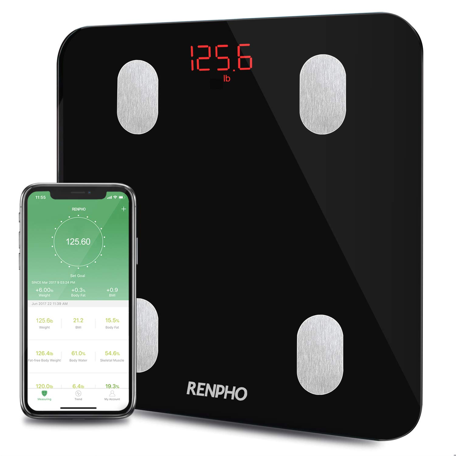 RENPHO Bluetooth Body Fat Scale Smart Digital Bathroom Scale Wireless Weighing Body Composition Analyzer Health BMI Scale with Smartphone APP, Weight, Body Fat Monitor, 396 lbs/180 kg product image