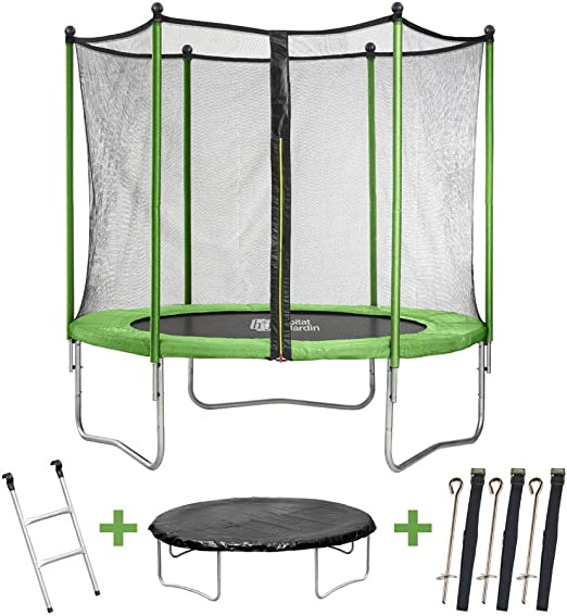 Trampolin Yoopi - Ø 3.05 m - escalera + red: Amazon.es: Jardín