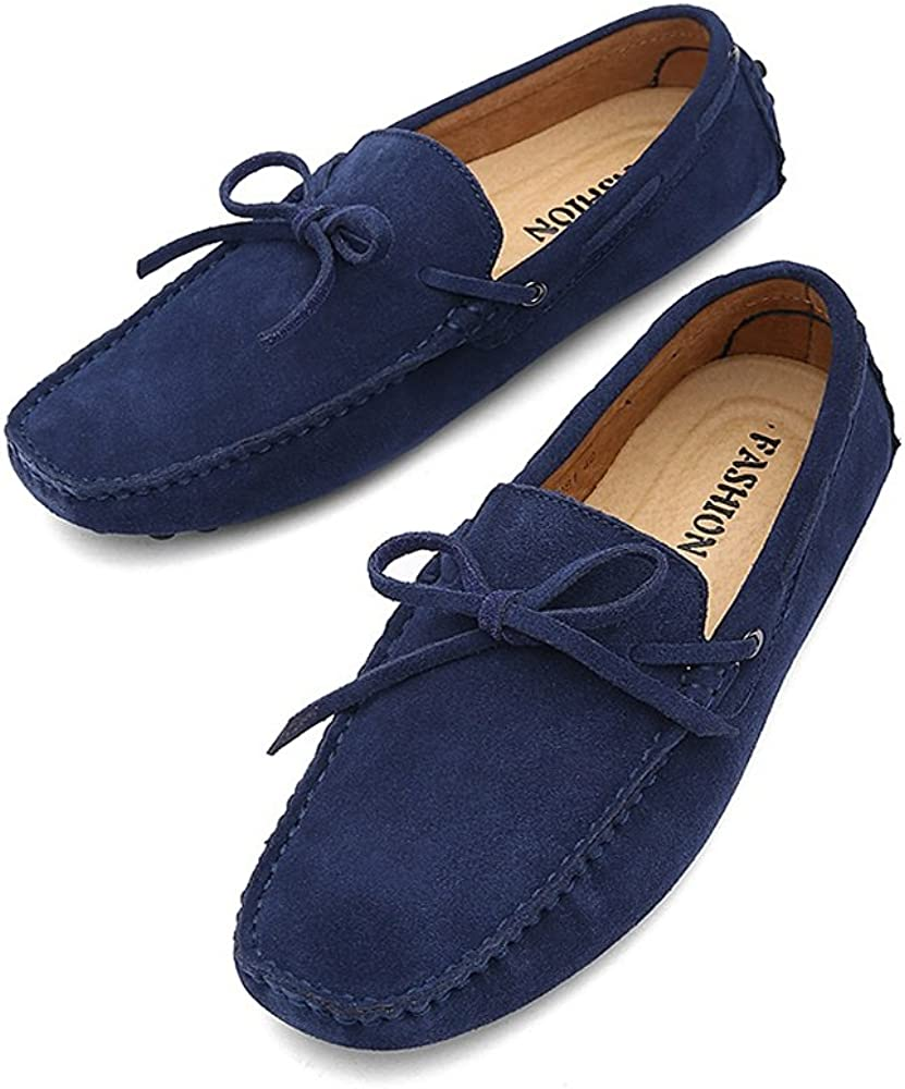 Color : Navy, Size Shoes Mens Driving Penny Loafers Genuine Leather Boat Moccasins Rubber Studs Sole Dress Shoes Bussiness