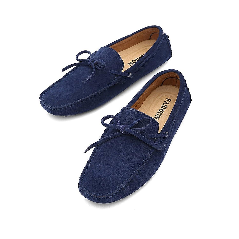 Ruiyue Müßiggaumlnger Schuhe  treibender Penny Müßiggaumlnger Echtes Leder Boots Mokassins Gummisohlen Schuhe für Männer (Color : Marine  Größe : 42 EU)