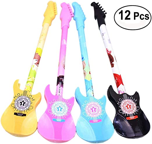 12 × kentop Guitarra Forma Bolígrafo de gel, 0,38 mm creativos ...