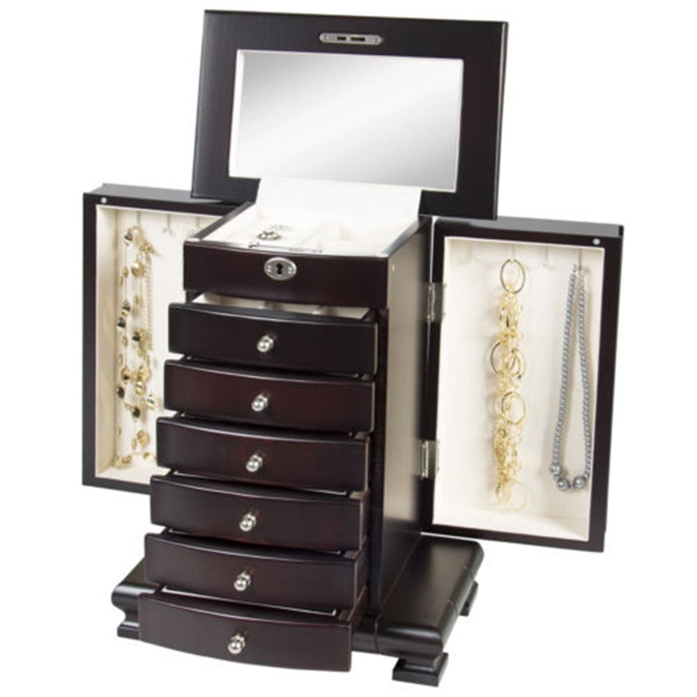 Angelwing Jewelry Box Wooden Organizer Wood Armoire Cabinet Storage Chest Handcrafted