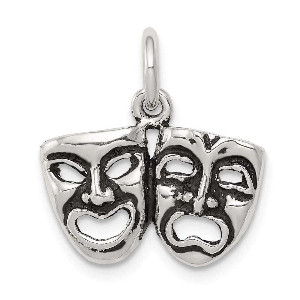 Sterling Silver Antiqued Comedy and Tragedy Face Charms on an Adjustable Chain Necklace