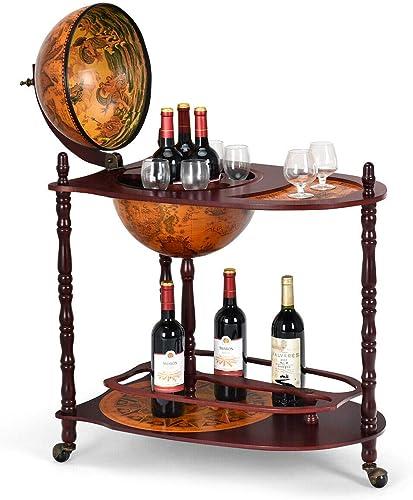Goplus 34″ Wood Globe Wine Bar Stand 16th Century Italian Rack Bigger Shelf