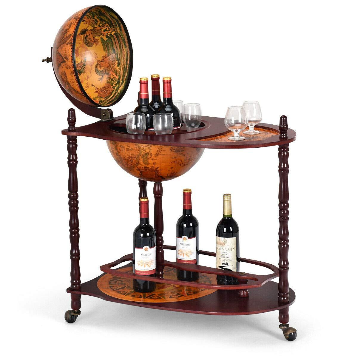 Goplus 34'' Wood Globe Wine Bar Stand 16th Century Italian Rack Bigger Shelf for More Liquor Bottle by Goplus