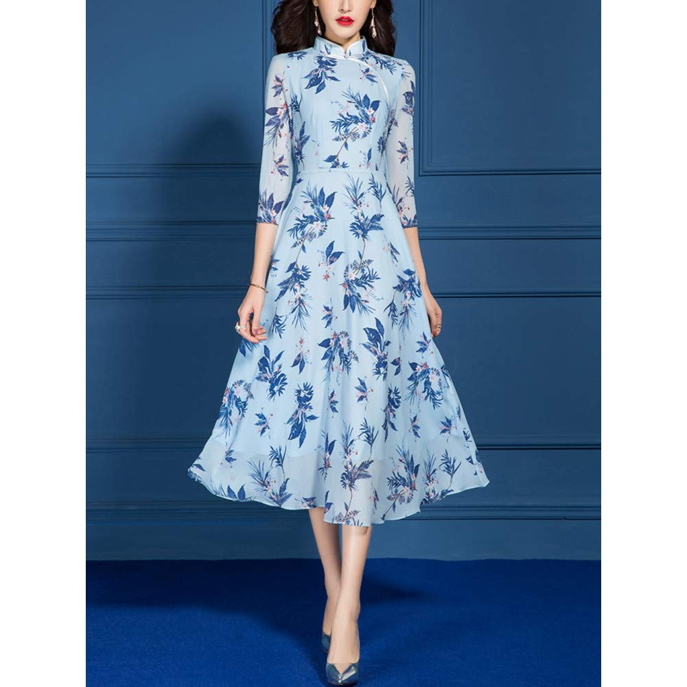 L BINGQZ Cocktail Dresses Spring women's self-cultivation temperament seven-point sleeves ruffled edged display improved cheongsam-style floral dress