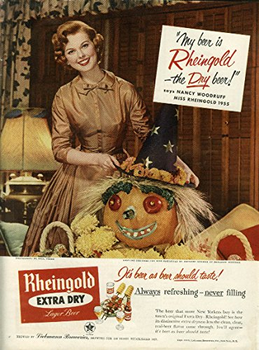 Miss Rheingold Beer Nancy Woodruff ad 1955 Halloween motif