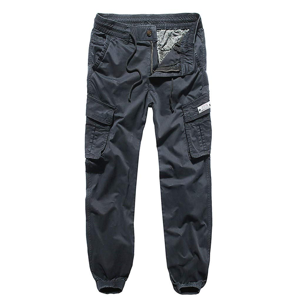 Men's Cargo Pants Outdoor Lightweight Hiking Camping Multi Pockets Reinforced Knees Climbing Mountain Pants (XXL, Navy) by Yihaojia Men Pants