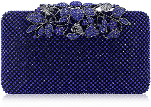 (Dexmay Womens Evening Bag with Flower clasp Wedding Handbag Rhinestone Crystal Clutch Purse Cobalt Blue)