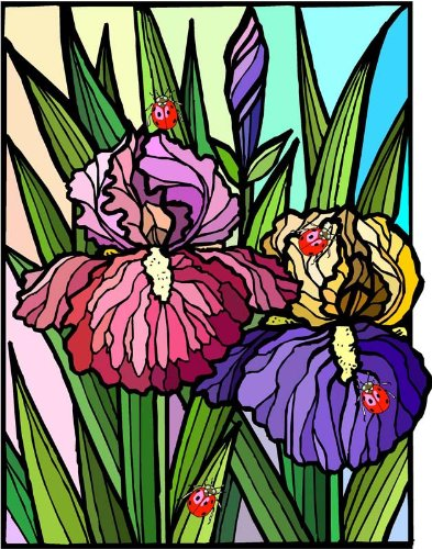 Flowers with Ladybugs-Etched Vinyl Stained Glass Film, Static Cling Window Decal ()