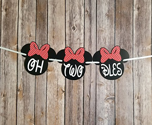 OrangeDolly OH TWO -DLES! Banner | 2nd Minnie mouse party supplies | Minnie Mouse Birthday Banner | Minnie Birthday Decorations (Red Bow) -