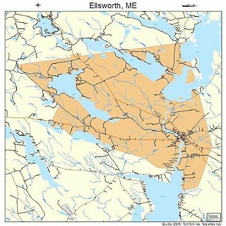 Amazon Com Large Street Road Map Of Ellsworth Maine Me Printed