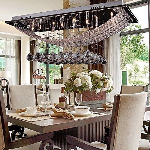 DINGGU™ Luxuriant Retangle Crystal Pendant Light Flush Mounted Ceiling Crystal Chandelier Light Included 8 LED Pure White LED Bulbs