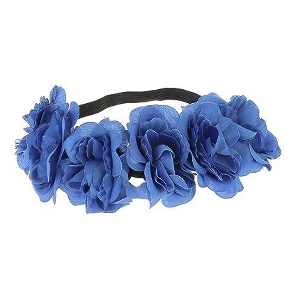 Headband Fleurs Bleu , Bandeau Cheveux , Couronne Fleurs , Accessoire  Cheveux