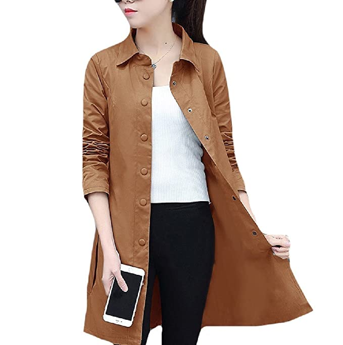 0c47dff78c3 Amazon.com  Comaba Women Office Business Pure Turn Down Collar Jacket Rain  Coat  Clothing