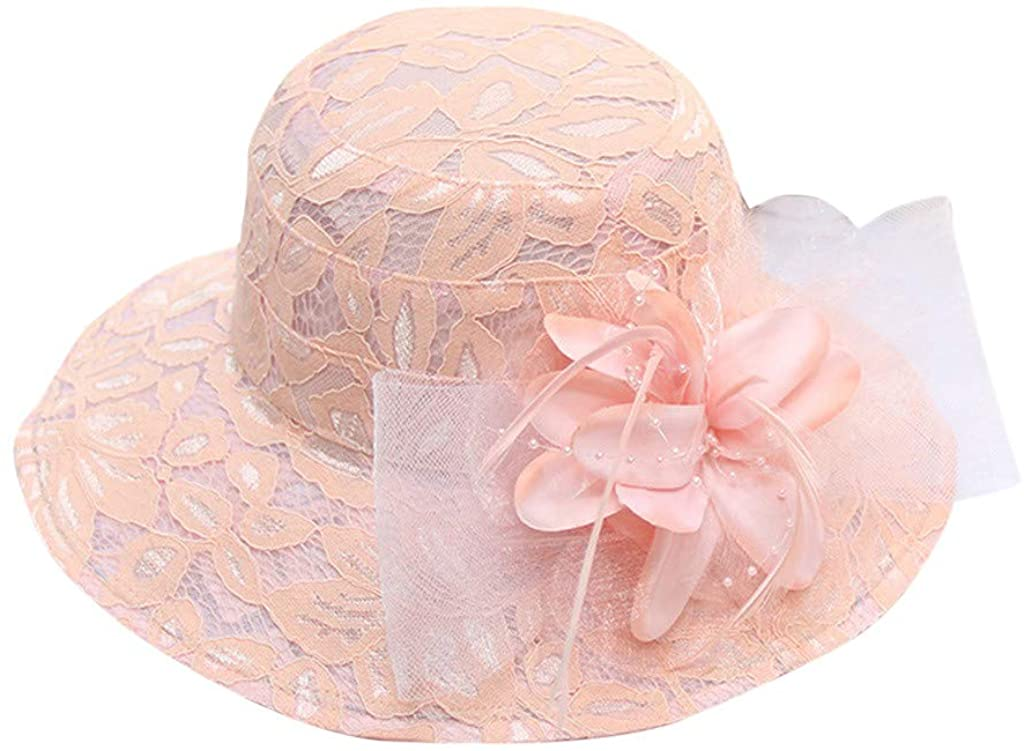 Giulot Ladies Kentucky Derby Church Hat Wide Brim Leaf Flower Bridal Dress Hat Flounce Cocktail Tea Party Club Hat