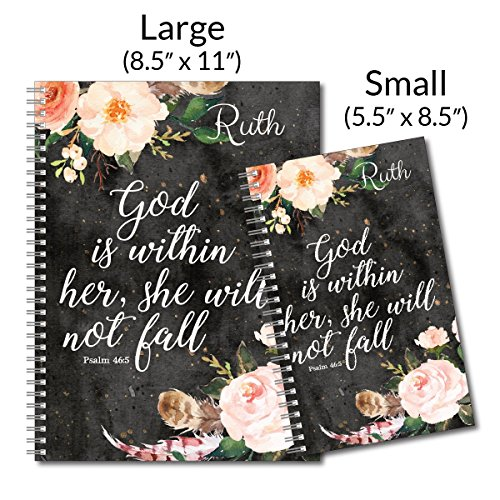 She Will Not Fall Personalized Religious Spiral Notebook/Journal, 120 College Ruled or Checklist Pages, durable laminated cover, and wire-o spiral. 8.5x11 | 5.5x8.5 | Made in the USA Photo #4