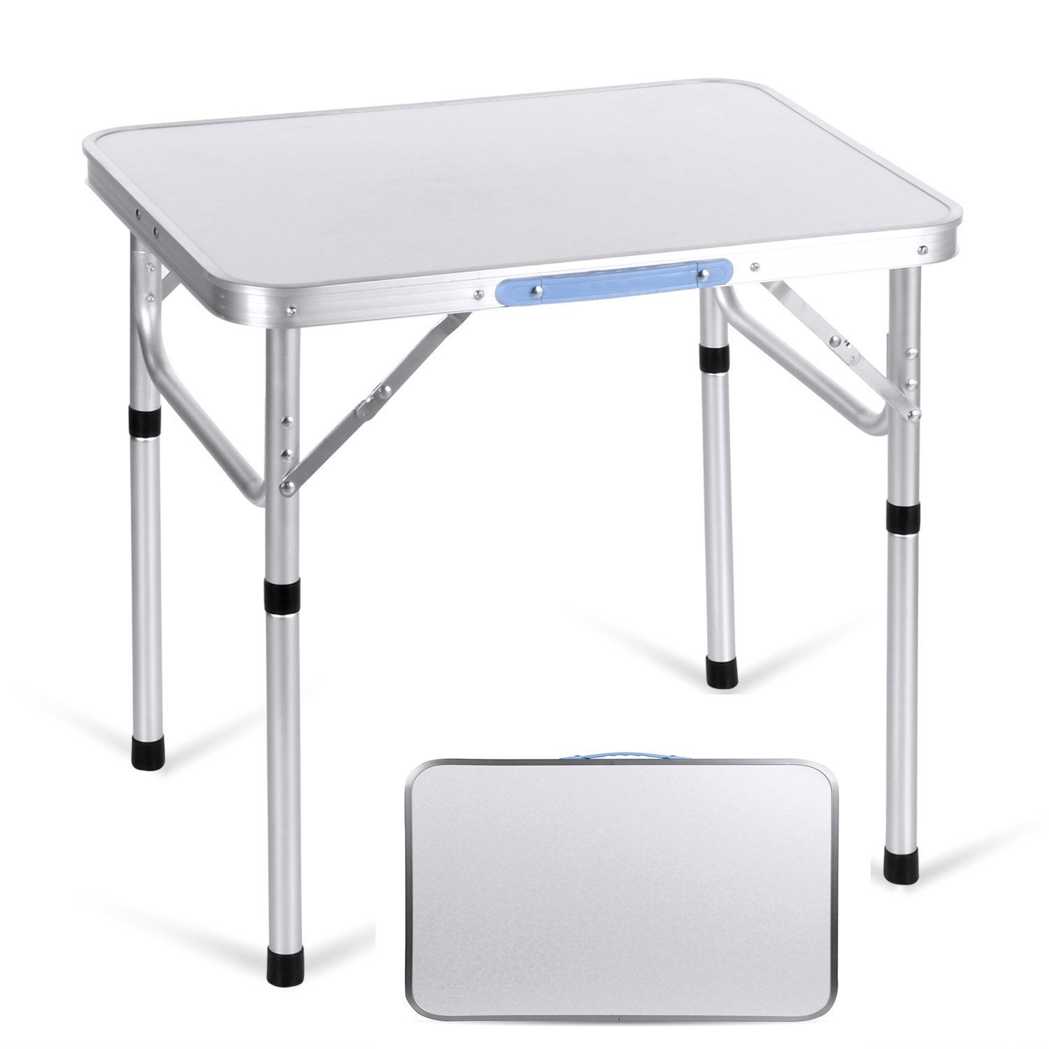 Kemanner Folding Table 2ft Camping Picnic Table Height Adjustable Portable Outdoor Party Dining Aluminum Table with Carrying Handle(US Stock) (Silver)